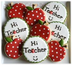 First Day of School cookies - love the polka dotted apple!