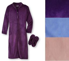 Details about Laura Scott Womens Plush Bathrobe Slippers Set Solid size S M  L XL NEW. Pajamas Women ... 8874f8bb4