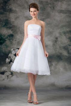 US $89.00   Organza axelbandslös knä längd a-line skärp kort brudklänning