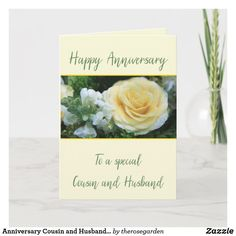Anniversary Cousin and Husband Yellow Rose Card Anniversary Congratulations, Wedding Anniversary Wishes, Best Anniversary Gifts, Happy Anniversary Cards, Anniversary Flowers, Husband Anniversary, Online Greeting Cards, Custom Greeting Cards, Yellow Roses