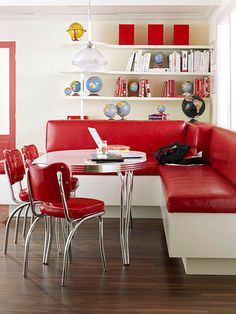 Vintage red banquette.....beautiful