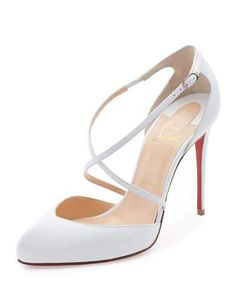 S1G3X Christian Louboutin Crossbreche Leather Red Sole Pump, Latte