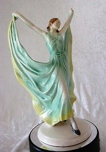 Superb ART DECO Katzhutte Style Dancer in Green & Yellow Flowing Dress