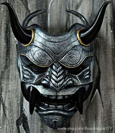Samurai Assassin Dämon Oni BB Gun Airsoft Maske Halloween Kostüm Cosplay Ninja Krieger Teufel Böse Hannya Kabuki Home Decor Wandmaske Mascara Hannya, Tattoo Mascara, Hannya Maske, Oni Samurai, Japanese Noh Mask, Samurai Mask Tattoo, Maske Halloween, Oni Mask, Susanoo