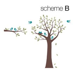 Tree with Birds and Nest Decal - Simple Shapes Wall Decals ...