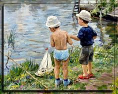 Fishermen - little boys, painting, illustration, art, artwork, wide screen, water, beautiful, fishing, river