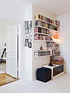 dvd storage for apartment. and good use of small wall space. i could do this in the living room Living Room Storage, Home Living Room, Apartment Living, Living Area, Apartment Decoration, Apartment Design, Cd Storage, Storage Ideas, Record Storage