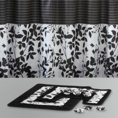 Bathroom 15 Pc Set Black White Floral Modern Shower Curtain 2 Rugs Rings Hooks M