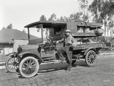 """The Bay Area circa 1915. """"Chew Sing produce truck."""" The Fresh Fruit Ford. 8x6 inch glass negative by the Cheney Photo Advertising Company."""