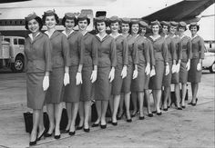 Pan Am stewardess graduation class of August, 1962 -- There was no question... these women had to display courtesy and class and their positions had many rules and restrictions.