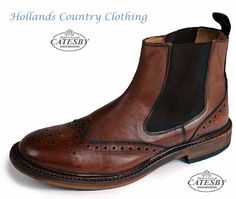 all leather brogue dealer boot in Rich Brown