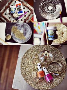 I am making this soon! Would be a great Christmas gift for all of the girls in my life. Glitter Jewelry Tray DIY - Craft ~ Your ~ Home Cute Crafts, Diy And Crafts, Arts And Crafts, Gold Diy, Diy Projects To Try, Craft Projects, Craft Ideas, Glitter Projects, Glitter Crafts