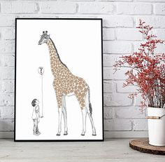 Instant download Fingerprint giraffe with a boy or girl for birthday party. Presentation Pictures, Fingerprint Art, Ink Color, Best Memories, Party Printables, Giraffe, Boy Or Girl, Moose Art, Give It To Me