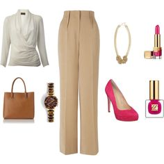 Neutrals and a pop of pink from www.lookingstylish.co.uk, created by mfsadler