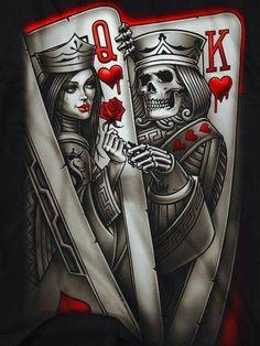 Pin by santiago ramos on king n queen карты тату, эскиз тату, игральные кар Cholo Art, Chicano Art, Dark Fantasy Art, Skull Tattoos, Body Art Tattoos, Og Abel Art, Tattoo Drawings, Art Drawings, Arte Dope