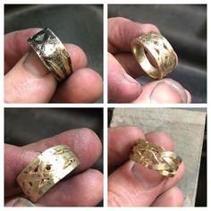 Carving it up! #handmade #yellowgold #weave #dressring #wip #progresspic #instajewelry #canberra #jeweller #jewelleryforlife @harryrosejewellery