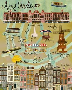 Map of Amsterdam — Anisa Makhoul Travel Maps, Places To Travel, Amsterdam Map, Amsterdam Netherlands, Netherlands Map, Art Carte, Voyage Europe, Travel Illustration, City Maps