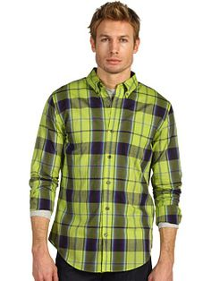 Vince - Bright Plaid Long Sleeve Button Down in Citron