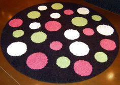 Black round rug with White, Lime Green, and Hot Pink Polka Dots!