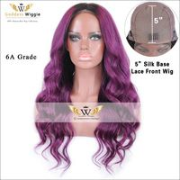 6A Grade Human Hair 5 Inch Silk Base Lace Front Wigs With Baby Hair Glueless Purple Body Wave Silk Top Lace Front Wigs