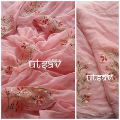 Designer Anarkali Dresses, Designer Punjabi Suits, Designer Sarees, Salwar Suit Neck Designs, Saree Blouse Designs, Aari Embroidery, Hand Work Embroidery, Saree Floral, Pink Saree
