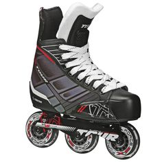 Tour Hockey 48TY-01 Junior FB-225 Inline Hockey Skate. Reinforced ankle support. Deluxe EVA comfort padding. BEVO Silver-5 race rated (chrome) bearings. Tour force speed formula Control wheels. Sizes 11, 12, 13, & 1 have 3 wheels. Sizes 2, 3, & 4 have 4 wheels. Tour aluminum power track Tri-Coil System.
