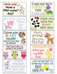 Free Animal Lunch Box Notes l Kids Lunch For School, School Snacks, School Fun, Kid Lunches, School Days, Budget Lunches, School Notes, Lunch Box Notes, Lunchbox Notes For Kids