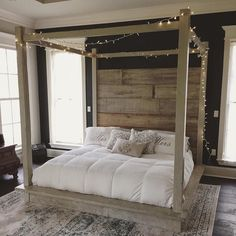 Dream sweet dreams under a @RevivalSupplyCo wooden canopy bed. Find your good night's sleep through link in bio. by etsy