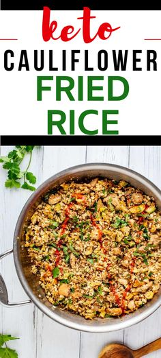 This easy Keto Cauliflower Fried Rice is the perfect one-dish low carb meal.  Best of all?  This healthy recipe comes together in less than 20 minutes.  Don't you just love easy one pan recipes? #20minutemeal #onepan #cauliflowerrice #friedrice #keto Low Carb Summer Recipes, Gluten Free Recipes For Breakfast, Healthy Gluten Free Recipes, Gluten Free Dinner, Ketogenic Recipes, Healthy Chicken Recipes, Keto Recipes, Dinner Recipes, Healthy Food