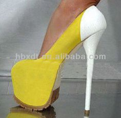 yellow and white high heels