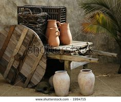 Pottery and wooden ware depicting first century mid-eastern domestic life.  (Replicas) - stock photo