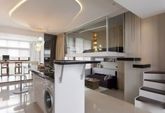 Modern Small Apartment: Open plan with split level and loft/mezzanine bedroom area...