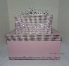 Silver Extra Large Mr & Mrs Wedding Card Box Bling Ribbon