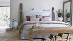 Chambre Provence - bois, lin, blanc, aubergine
