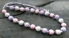 Pink, purple and white wooden bead knotted necklace with heart clasp Knot Necklace, Simple Necklace, Organza Gift Bags, Handmade Jewellery, Wooden Beads, Pink Purple, Heart Shapes, Knots, Jewelry Making