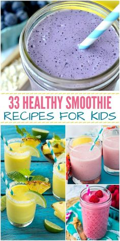 33 Healthy Smoothie Recipes for Kids - easy smoothies to help your kids fit in lots of healthy fruits and veggies (Diet Plan For Picky Eaters) Vegetarian Meals For Kids, Healthy Meals For Kids, Kids Meals, Vegetarian Recipes, Simple Recipes For Kids, Fruit Recipes For Kids, Healthy Smoothies For Kids, Good Snacks For Kids, Healthy Kids Breakfast