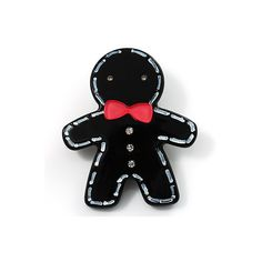 Black Gingerbread Man Plastic Brooch ($14) ❤ liked on Polyvore featuring jewelry, brooches, accessories, backgrounds, fillers, women, plastic jewelry, avalaya jewellery, bow jewelry and pin brooch