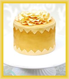 Golden Wedding Cake with Bow