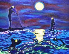 022 night swim #painting, #art, #oil