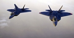 The military is betting on the 5th-generation fighter programs, like the F-22 Raptors (shown here) and the F-35.