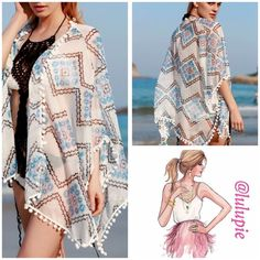 "✳️ SALE ✳️Zigzag Printed kimono/ cover up Beautiful zig zag print with Pom Pom details swimsuit cover up or wear it as a kimono! Length of kimono is 25"". OSFM from XS to XL B Chic Swim Coverups"