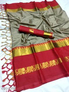 Sarees Attractive Soft Cotton Silk Saree Fabric: Saree - Soft Cotton Silk Blouse - Soft Cotton Silk Size: Saree Length - 5.5 MtrBlouse Length - 0.8 Mtr Work: Zari Border Work Country of Origin: India Sizes Available: Free Size   Catalog Rating: ★4 (440)  Catalog Name: Tiya Solid Cotton Silk Sarees with Tassels and Latkans CatalogID_266676 C74-SC1004 Code: 485-2016793-6051