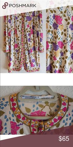 Vintage Averardo Bessi Silk Roses Shirt Dress M L Vintage Averardo Bessi Silk Floral Roses Shirt Dress M L Italy Has * all its buttons Vintage Dresses Long Sleeve