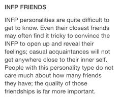 "INFP (Introvent, iNtuitive, Feeler, Perceiver) Introverted feeling with Intuition .list of detailed traits. :""} I think I'm actually purse open 'bout my feelings tho 030 .MOSTLY Cx Personalidad Infp, Infj Infp, Myers Briggs Personality Types, Just In Case, Decir No, Thoughts, Feelings, Inspiration, Words"