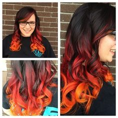 My hair was these colors once, only, the orange and red were at the top, black was at the bottom.