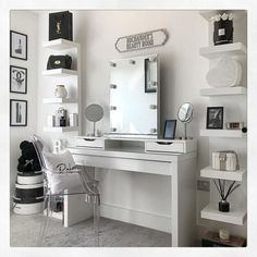 It's really a dressing table – with space for make-up and jewellery inside. Ikea Lack Wall Shelf, Wall Shelf Unit, Wall Shelves, Vanity Shelves, Grey Bedroom Decor, Bedroom Decor For Teen Girls, Stylish Bedroom, Dressing Room Decor, Dressing Room Design