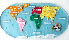 fabriquer une carte du monde en puzzle. Fait de feutrine et velcro. Votre enfant va apprendre à reconnaitre et situer les continents et pays qui nous entourent. Pensez aussi aux animaux