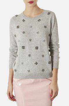 Topshop Embellished Floral Knit Sweater available at #Nordstrom