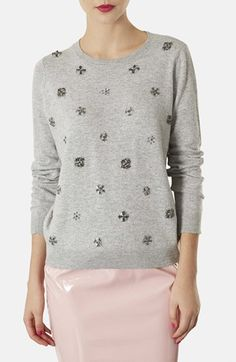 embellished floral knit sweater / topshop