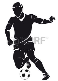 Vector football soccer player silhouette with ball isolated photo